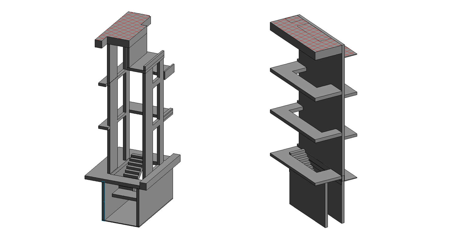 3D Revit Model, Stair Well Shafts