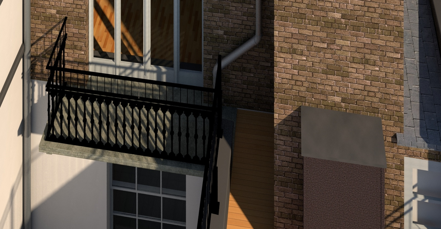 Revit model, balcony, drainage